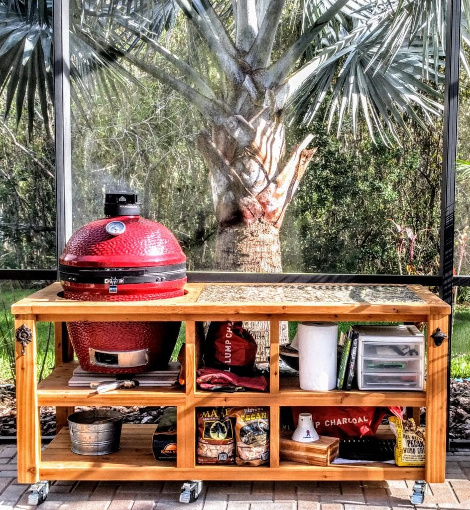 kamado grill table from Etsy
